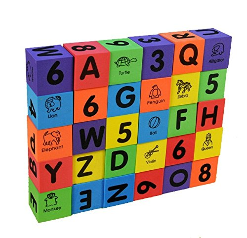 Foam Number Alphabet Letters ABC/123 Animal Multi-colored Baby Blocks Toys,1SET=30PCS by Generic