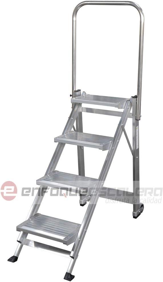 KTL Taburete-Escalera Industrial de Aluminio Plegable 4 peldaños con barandilla Serie k-Fold: Amazon.es: Hogar
