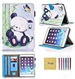 iPad Air 2 Case, New iPad 2017 Case, iPad 9.7 2018 Case, Dluggs PU Leather Folio Smart Case Cover with Auto Sleep/Wake Function for Apple iPad 9.7 2017/2018 Model/iPad Air 1 2, Lazy Panda