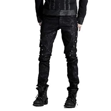 68f3b60835 PUNK Dark Black Men Jean Pants Fashion Gothic Fitted Long Pencil Pants  Trousers