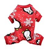SGMOER Cute Penguin Xmas Pet Clothes for Dog Pajamas Soft Fleece Christmas Coat Jumpsuit (M - Red)