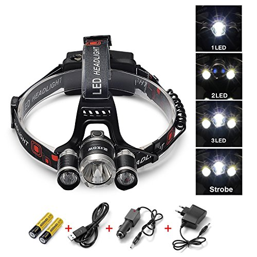 LED Headlamp, Arespark 5000 Lumens Flashlight for Camping, Running, Hiking, Fishing, Hunting, Reading, Biking and Kids, 4 Modes Headlight with 3 CREE T6, Waterproof, Adjustable Strap, Batteries Included