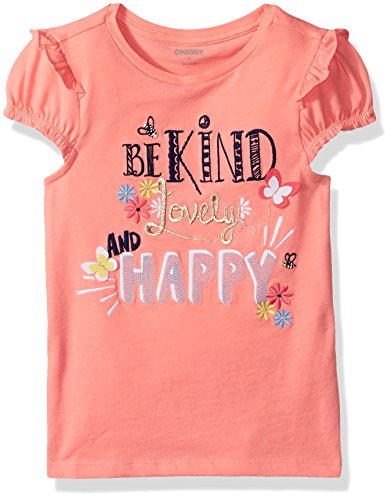 Gymboree Baby Toddler Girls' Kind Lovely Happy Coral Graphic Tee, Peppy Orange Glow, 18-24 Months