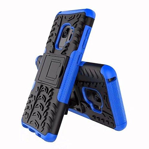 SRY-1 2 en 1 cubierta de la caja a prueba de golpes Hyun patrón doble capa armadura híbrida Kickstand caso para Samsung Galaxy S9 ( Color : Purple ) Blue