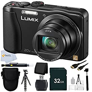 Panasonic Lumix DMC-ZS25 16.1 MP Compact Digital Camera with 20x Intelligent Zoom (Black) + Panasonic Lumix Case + 32GB Memory Card + Extendable Handheld Monopod + Flexible Gripster Tripod + MINI HDMI Cable & More