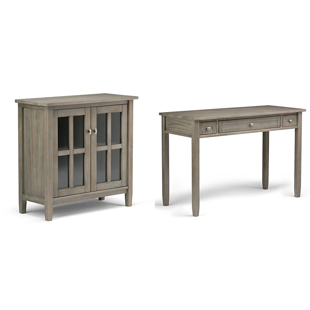 Simpli Home Warm Shaker Low Storage Cabinet, Distressed Grey + Simpli Home Warm Shaker Desk, Distressed Grey :Bundle