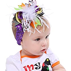 Lifestyler Halloween Toddler Baby Kids Girls Feather Bowknot Hairpin Headdress Purple