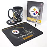 Pittsburgh Steelers work station, computer set. Includes, jumbo 15 oz coffee mug, neoprene mouse pad and coaster, retractable pen, and a journal book to.