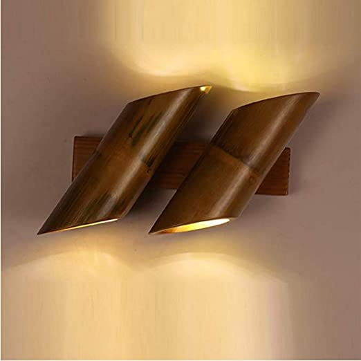 YAOHM Loft Style Bamboo Vintage Apliques De Pared Viento Industrial Antiguo LED Apliques De Pared Escalera Lámpara De Pie Tubo De Bambú Iluminación De Interior,S: Amazon.es: Hogar