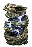 Hi-Line Gift Ltd Log and Stone Waterfall Fountain with LED Light
