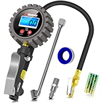 Oasser Tire Inflator with Pressure Gauge Air Compressor Max 255PSI with Digital LCD Pressure Gauge Brash Air Chuck Dual Head Air Chuck 1/4'' NPT Quick-Connect Male Fitting P5