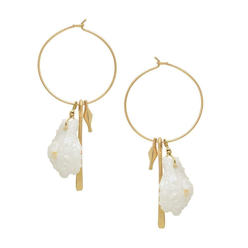 Ludage Earrings, Alloy Earrings European and American Creative Hundred Natural Stone Pendant Geometric Earrings