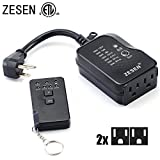 remote control outlet heavy duty - ZESEN Outdoor/Indoor Dual Outlet Timer Heavy Duty Photocell Light Sensor with Remote Control, 3-pin Grounded ETL Listed