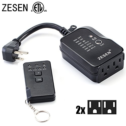 ZESEN Outdoor/Indoor Dual Outlet Timer Heavy Duty Photocell Light Sensor with Remote Control, 3-pin Grounded ETL Listed