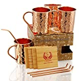 Copper Moscow Mule Mugs - Set of 4 - Highest Quality Gift Set – 100% HANDCRAFTED - Food Safe Pure Solid Copper Mugs 16 oz Hammered Moscow Mule Mug with BONUS:Copper Straws and Coasters by Copper Cure
