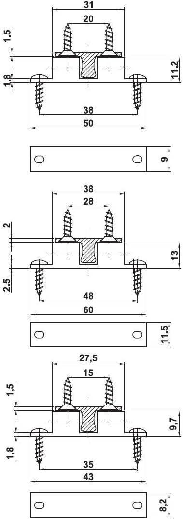 L/änge 43mm 2er Pack Doppelkugelschn/äpper Schn/äpper aus Messing verchromt