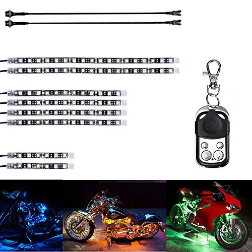 Motorcycle Water-Proof 96 LED Light Strips Multi-Color Accent Glow Lights With Remote Controller (Pack of 8) and 60cm Ultra Cable