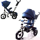 LITTLE TIGER 4 IN 1 KIDS TRIKE TRICYCLE WITH ROTATING SEAT, RECLINING BACKREST(NAVY BLUE)
