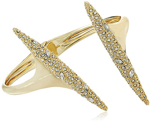 Alexis Bittar Cuff Bracelet - Alexis Bittar Crystal Encrusted Modernist Spear Hinge Gold Cuff Bracelet
