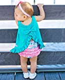 RuffleButts Baby/Toddler Girls Key West Knit Ruffle Swing Top - 6-12m