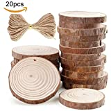 "Unfinished Natural Wood Slices 20Pcs 2.75""-3.14"" inch with Tree Bark Circles Log Discs for DIY Crafts Christmas Rustic Wedding Ornaments"