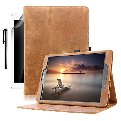 Galaxy Tab S3 9.7 Case, BoriYuan Genuine Leather Multiple Viewing Angles Stand Folio Flip Cover with Auto Sleep/Wake Feature and Pen Holder for Galaxy Tab S3 Tablet(9.7 inch), Brown (Samsung Galaxy S3 Best Features)