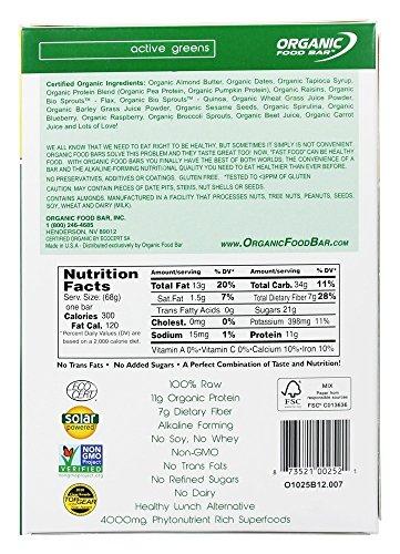 Organic Food Bar - Active Greens - 12 Bars