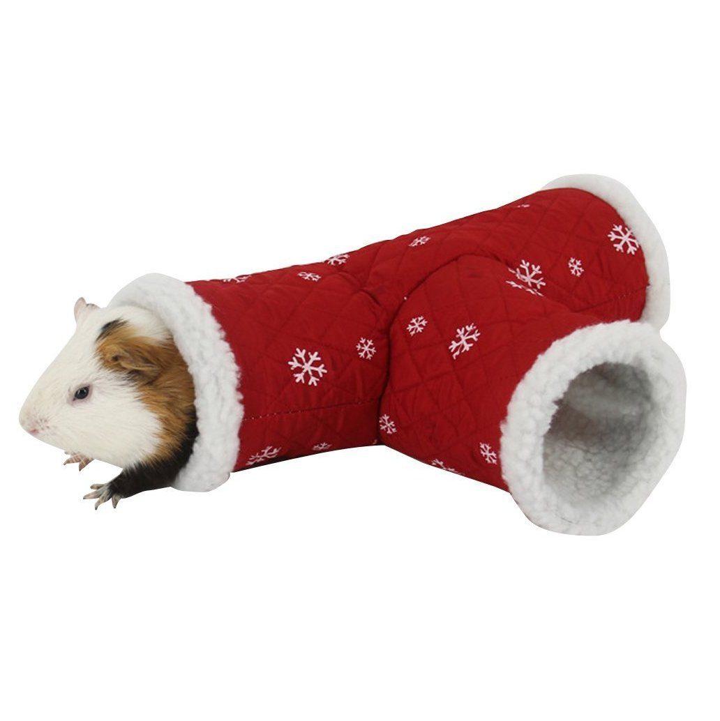 Stock Show Hamster Tunnel, Warm T Shape Small Pet Animal Tube Hideout Bed Playing Channel for Gerbil Rat/Guinea Pig/Chinchilla/Squirrel, Red