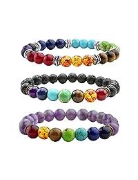 Top Plaza Men,Women 8mm Lava Rock Beads Chakra Bracelet Black Healing Energy Stone Gemstone Bracelet