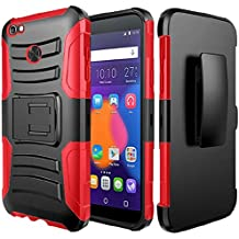Alcatel Idol 5 Case, Alcatel Nitro 5 Case, BornTech Heavy Duty Dual Layer Build in Kick stand with Belt Clip Holster Combo Rugged Phone Case Cover (Red/Black)