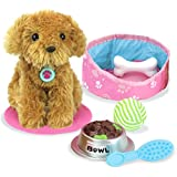 "Sophia's LA-SPD 18"" Doll Sized Puppy with Bed, Food, Bone & Accessories, Gold, Pink"