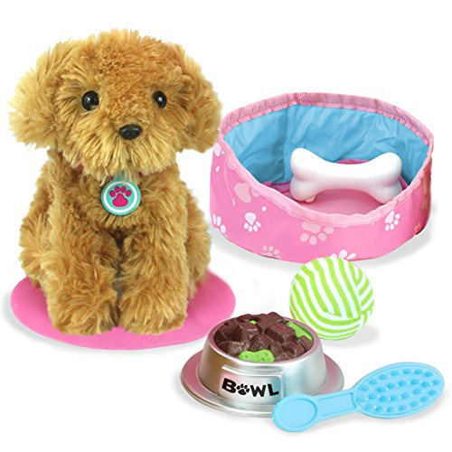 Pets for 18 Inch Dolls, Plush Puppy Dog Play Set, Perfect Doll Toy for 18 Inch Dolls | 9 Piece Golden Dog, Bed, Food & Accessories by Sophia's