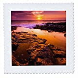 3dRose Danita Delimont - Sunsets - Sunset and tide pool above the Pacific, Kailua-Kona, Hawaii, Usa - 20x20 inch quilt square (qs_259234_8)