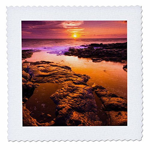 3dRose Danita Delimont - Sunsets - Sunset and tide pool above the Pacific, Kailua-Kona, Hawaii, Usa - 20x20 inch quilt square (qs_259234_8) by 3dRose