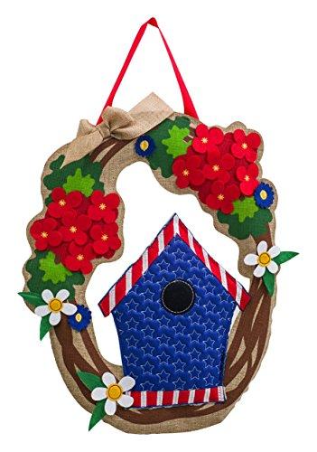 Evergreen Patriotic Welcome Wreath Outdoor Safe Burlap Door Hanger -
