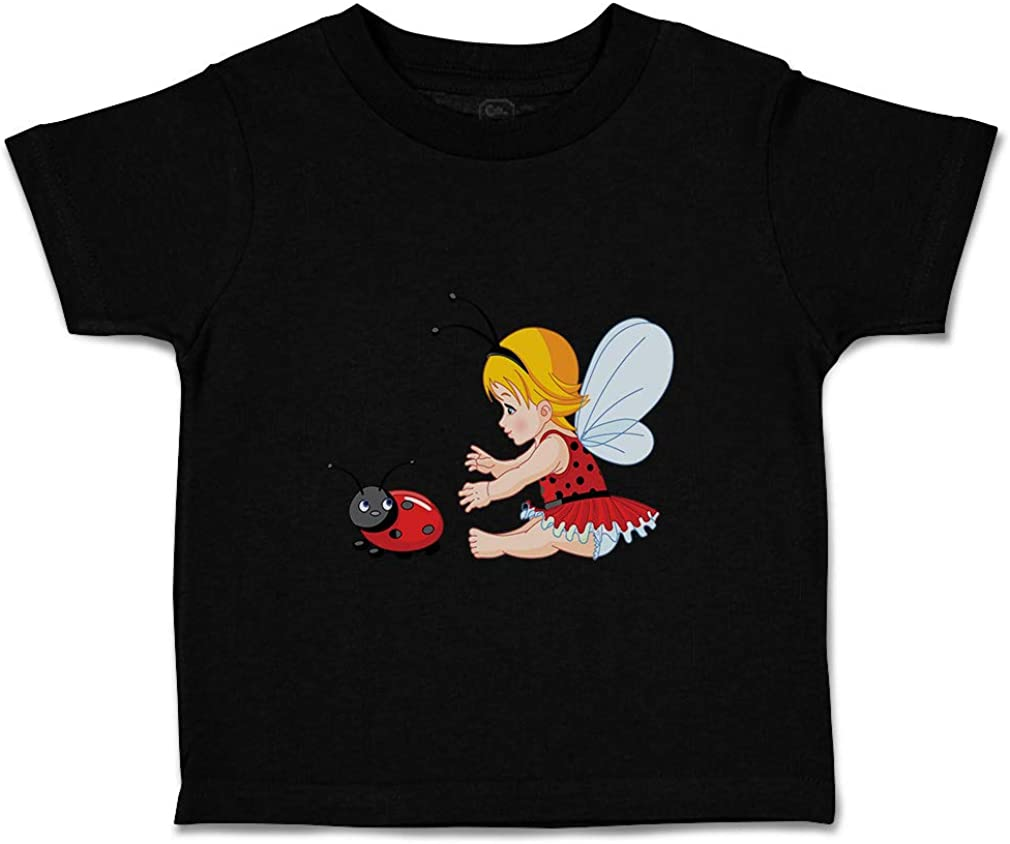 Custom Baby /& Toddler T-Shirt Little Girl with Wings and Ladybird Cotton