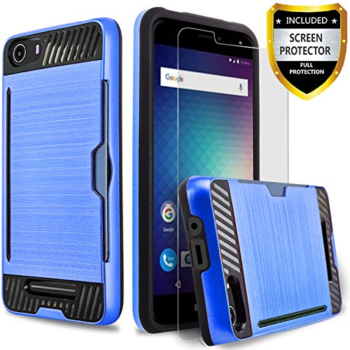 BLU Advance 5.0 Case, [Not Fit BLU Advance 5.0 HD] Circlemalls 2-Piece Style Hybrid Shockproof Hard Case Cover With [Premium Screen Protector] And Touch Screen Pen (Blue)