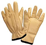 Anti-Vibration Gloves, Leather Palm Material, Yellow, 1 PR
