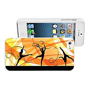 Apple iPhone 5 5S Hard Back Case Cover Color Gymnastics with Ribbon (White)