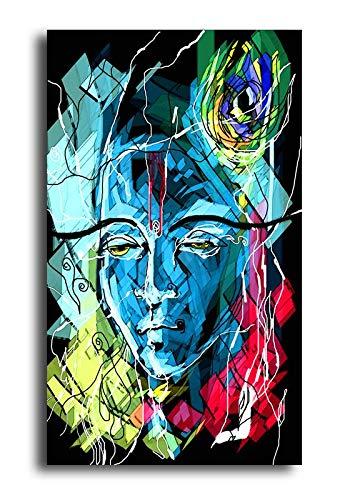 Pixelartz Canvas Painting Lord Krishna Abstract Relgious Canvas Art Amazon In Electronics