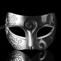 Melody Retro Roman gladiator Halloween party masks man woman children Mardi Gras Masquerade mask more colors available (Silver + Black) by Melody party favor