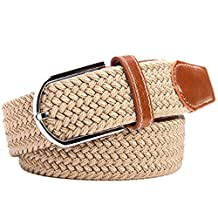Surker Braided Elastic Stretch Belt Leather Tipped End and Silver Metal Buckle