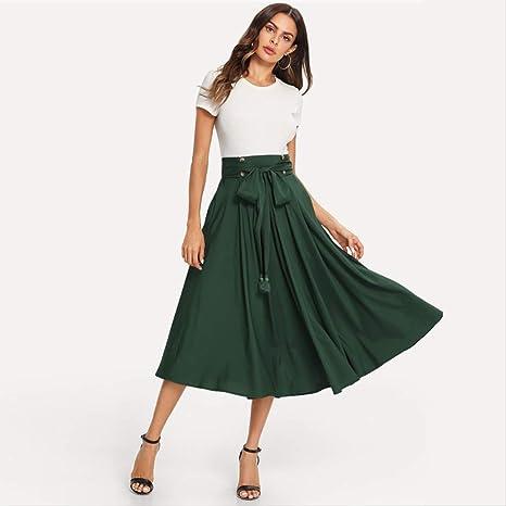 YISQING Falda Midi con Detalle de Botones Elegantes Verdes Faldas ...
