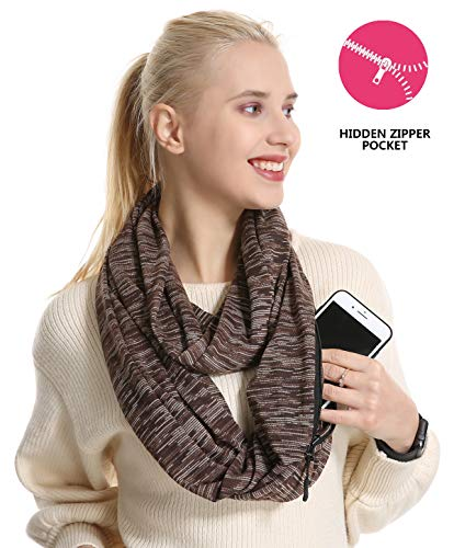 (USAstyle Zipper Hidden Pocket Infinity Scarf - Black Women Men Midweight Lightweith Thin Light Plain Solid Jersey Security Travel Passport Purse Fashion Infinite Scarfs For Spring Winter)
