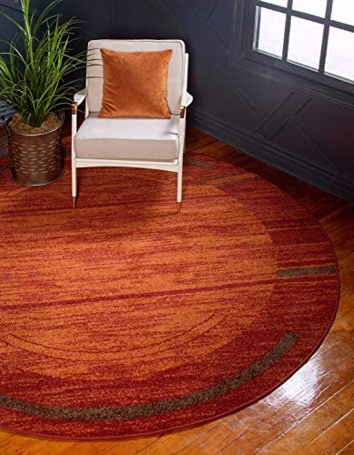 Unique Loom Autumn Collection Border Casual Rustic Warm Toned Terracotta Round Rug 3 3 x 3 3