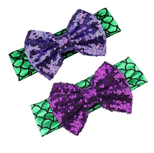 Baby Headband Fish Scales Bowknot Mermaid Turban with Tie Knotted Hair bow Band JB33 (2 Pcs-Purple Bow)