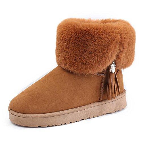 Toe talón Zapatos botines HSXZ de nieve Black plano PU Bowknot primavera botas Ronda de de botas confort de otoño zapatos Nubuck botines mujer Cuero UqnwZHrqd