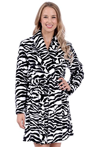 (Patricia Womens Knee Length Ultrasoft Premium Plush Shawl Collar Robe (Zebra Print, L/XL))