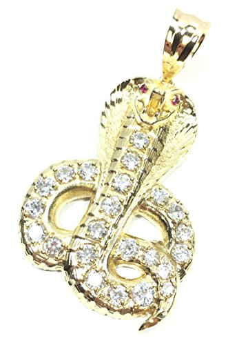 UNITEDEAL NEW 10K YELLOW GOLD 59 MM LONG DIAMOND CUT KING COBRA SNAKE CHARM PENDANT (King Cobra Snake Pendant)