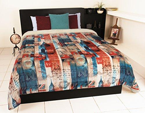 London Strips England British Union Jack UK Luxury Plush Reversible Comforter - Full Sized